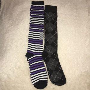 Golf Plaid & Purple / Silver Striped Socks Bundle